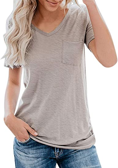 Amazon.com: Camiseta de manga corta para mujer, cuello en V ...