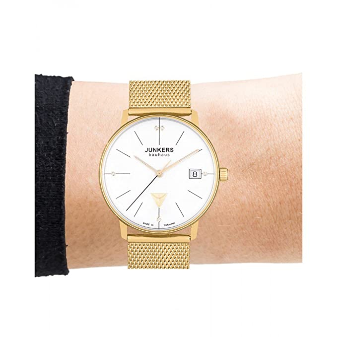 Bauhaus Dame cuarzo blanco 35 mm correa Milanaise Gold par JUNKERS jks020: Amazon.es: Relojes