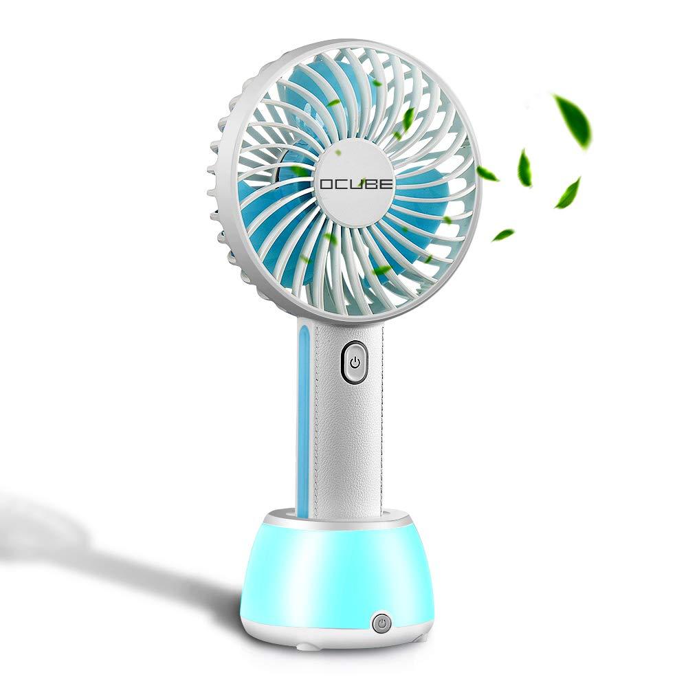 Mini Handheld Fan, OCUBE Mini USB Fan with LED Night Light, Lightweight Portable Personal Battery Operated USB Fan Desk Desktop Table Fan for Office Room Outdoor Household Traveling (3 Speed,Blue)