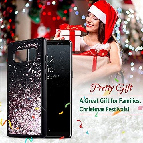 Funda Galaxy Note 8, Wuloo Samsung Galaxy Note 8 Funda Liquid Crystal Glitter TPU Protección de cubierta moda 3D creativo brillante diseño flotante líquido lujo Bling Funda de diamante para Samsung Ga negro-oro rosa