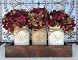 country kitchen table centerpieces Mason Canning JARS in Wood Antique RED Tray Centerpiece with 3 Ball Pint Jar - Kitchen Table Decor - Distressed Rustic - Hydrangea Flowers (Optional) - SAND, COFFEE, CREAM Painted Jars (Pictured)