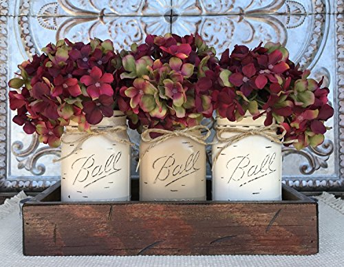 Lodge Pine Coffee Table (Mason Canning JARS in Wood Antique RED Tray Centerpiece with 3 Ball Pint Jar - Kitchen Table Decor - Distressed Rustic - Hydrangea Flowers (Optional) - SAND, COFFEE, CREAM Painted Jars (Pictured))