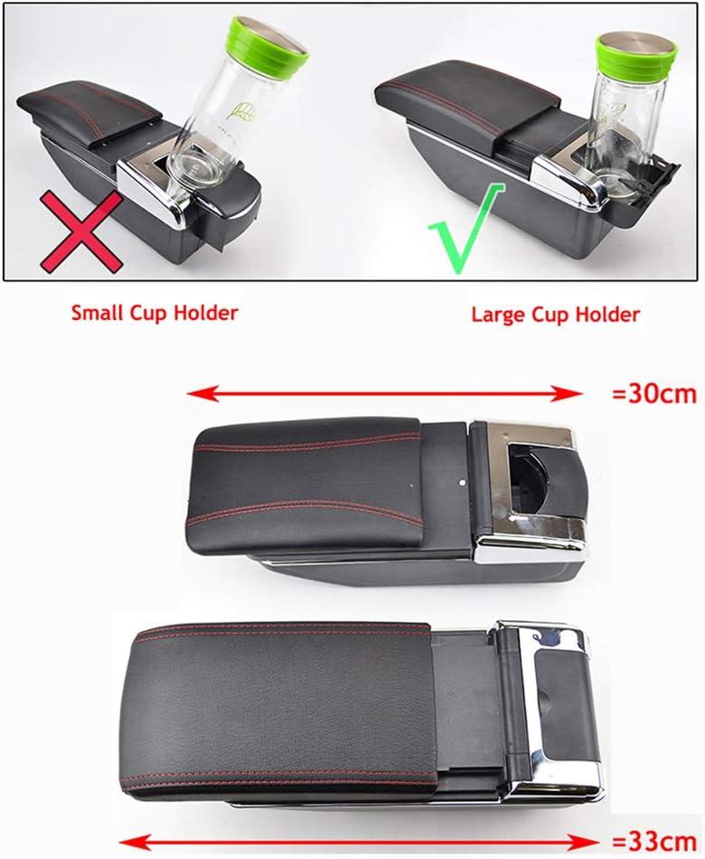 Dual-Layer Black Leather Arm Rest For Vitara 2015 2016 2017 2018 2019 Centre Console Storage Box Armrest