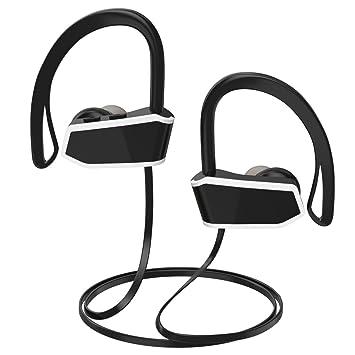 MoKo Bluetooth auriculares, auriculares inalámbricos auriculares con micrófono & Siri IPX7 impermeable a prueba