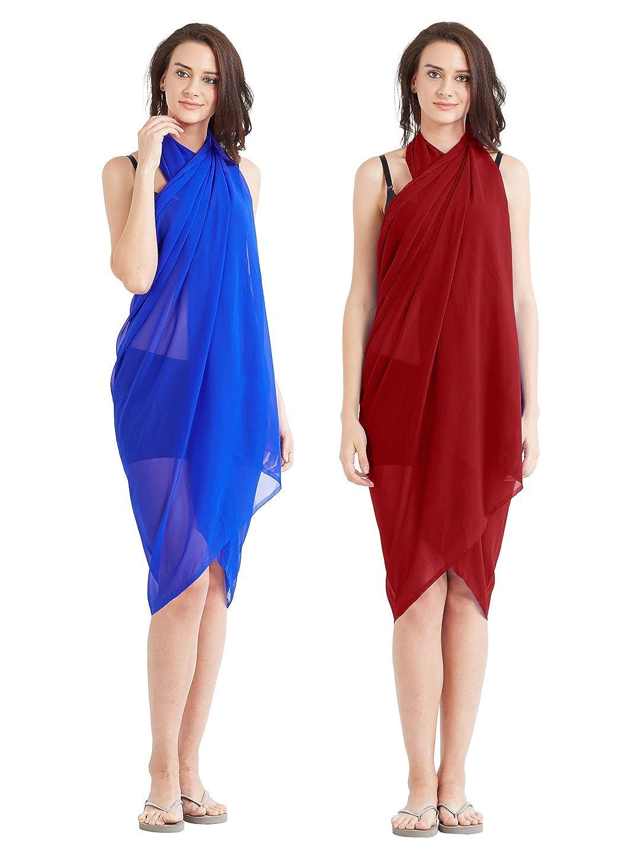 MirchiFashion - Copricostume - donna Blu Royal Blue,Red Taglia Unica