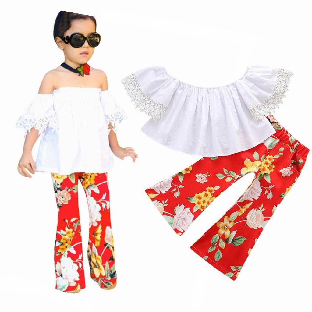 dise/ño con Estampado Floral y Camiseta de Manga Corta Viahwyt 2018 Conjunto de Ropa para ni/ñas