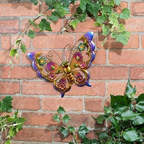 Metálico mariposas arte de pared con joyas decoración para iluminar su jardín – mariposa (morado): Amazon.es: Jardín