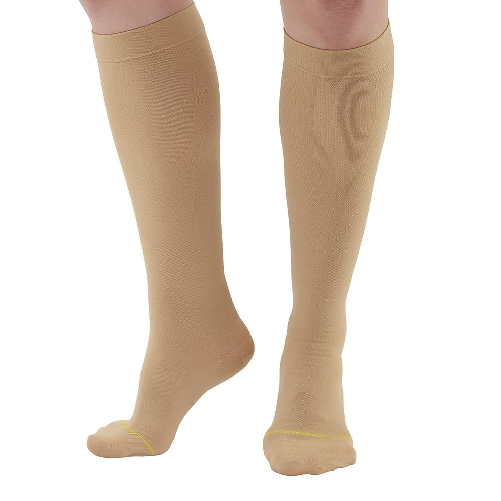 Ames Walker AW Style 222 Anti-Embolism 18 mmHg Compression Closed Toe Knee High Stockings Beige Large - Non-ambulatory patients - Reduce possibility of pulmonary embolism