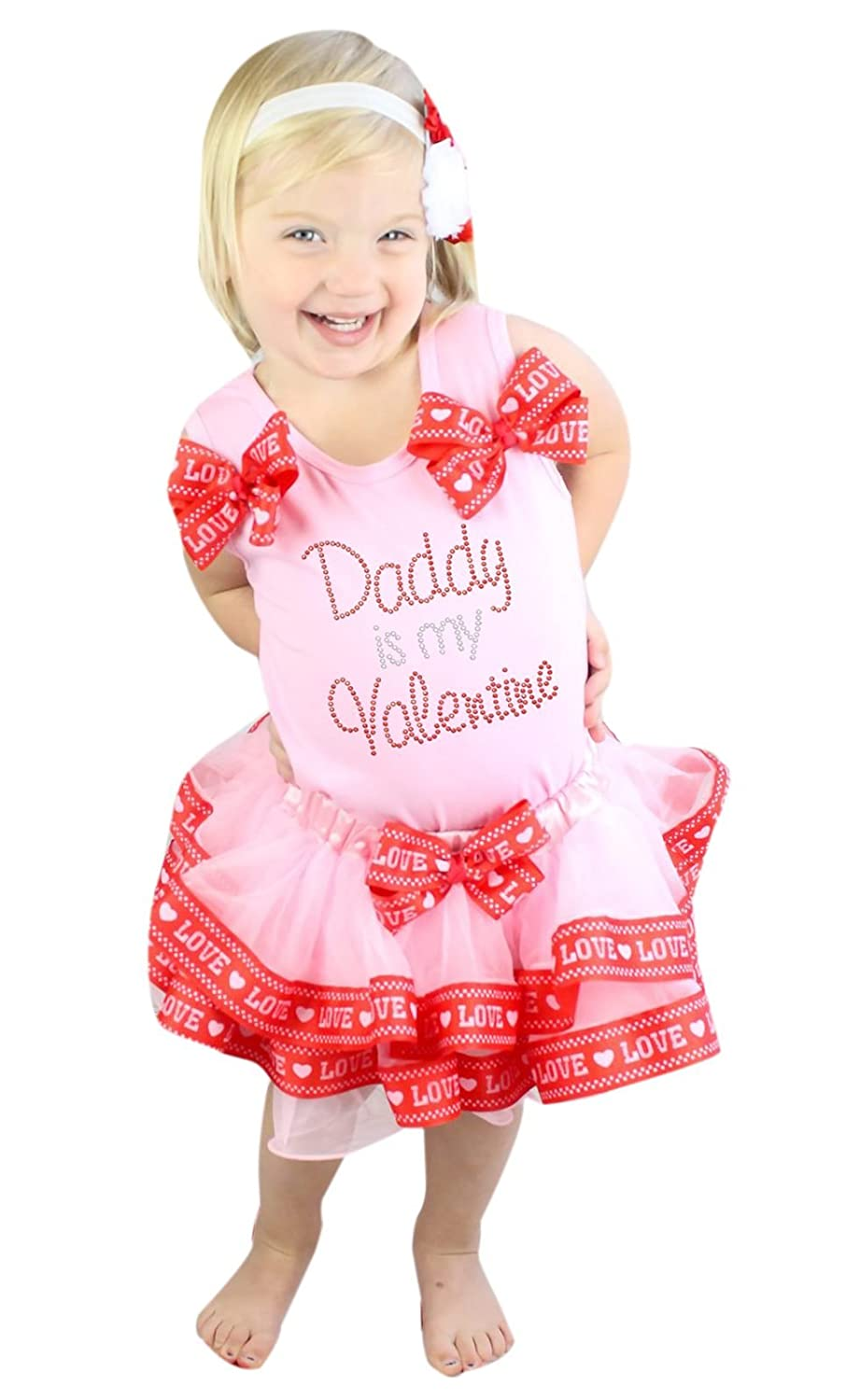 Daddy Is My Valentine Dress Pink Shirt with Red Love Bow Petal Skirt Set 1-8y