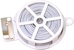 1 Roll Coil 50M 164 FT White Metal Sealing Rope Multi-Function Sturdy Tie-Up Device with Cutter Plastic Wrapped Wire Twist Tie Wired String for Home Gardening Office