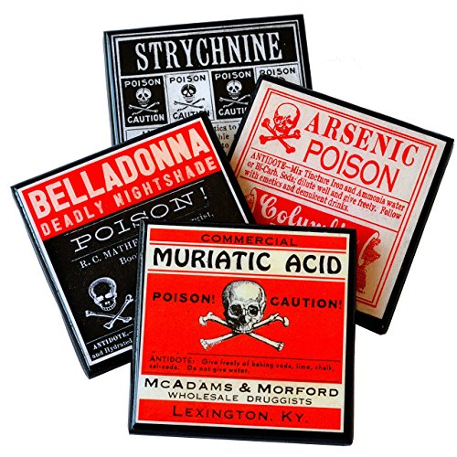 Vintage Halloween Poison Label Drink Coaster Set -