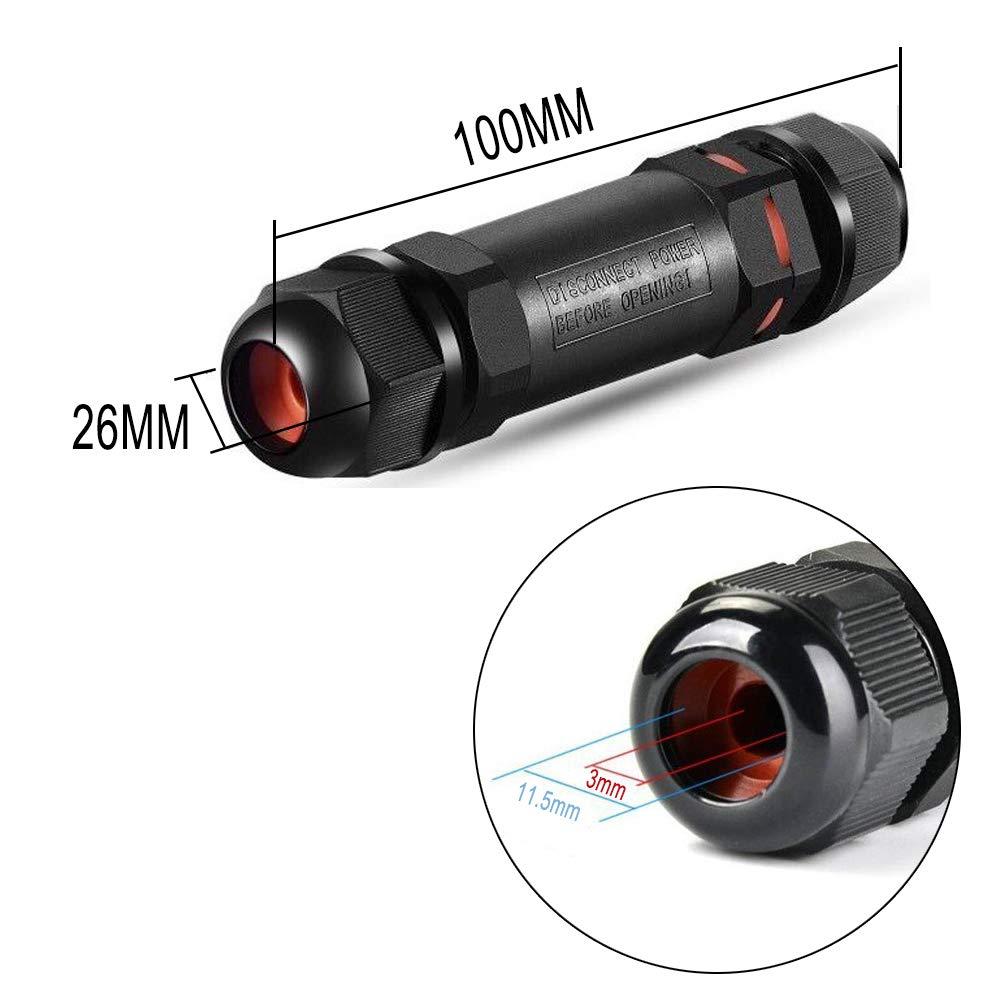 Bkinsety 3 pi/èces Bo/îte de Jonction IP68 Connecteur /Étanche De Plein Air Coupleur /Ø 3mm-11.5mm