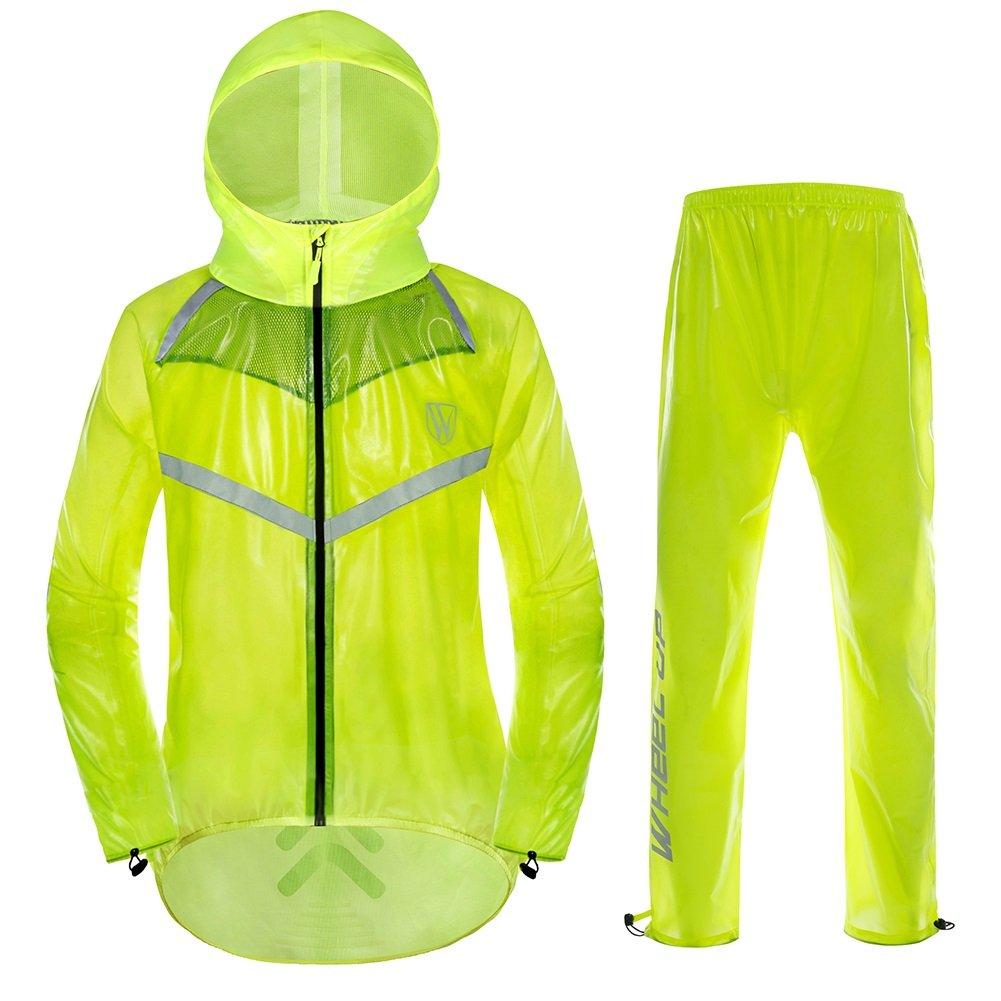 Imperméable à Capuche Unisexe Costume Veste et Pantalon de Pluie Coupe-vent Respirant avec Bandes Réfléchissants pour Sports Extérieur Randonnée Cyclisme Motocyclisme