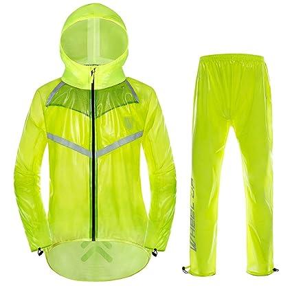 VGEBY Chaqueta de Ciclismo Unisex Impermeable con Capucha y Pantalones Correas Reflectantes Chaqueta de Lluvia para