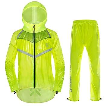 VGEBY Chaqueta de Ciclismo Unisex Impermeable con Capucha y Pantalones Correas Reflectantes Chaqueta de Lluvia para Deportes al Aire Libre: Amazon.es: ...