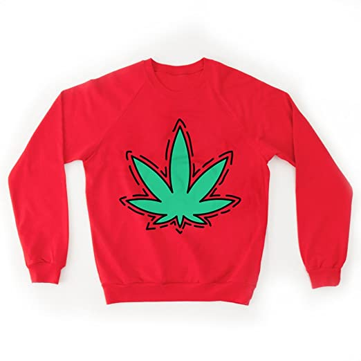 Besos Y Porros Women's Marijuana Icon Sweater Large Red