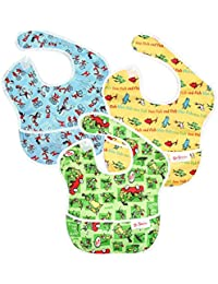 Dr Seuss SuperBib, Baby Bib, Waterproof, Washable, Stain and Odor Resistant, 6-24 Months, 3-Pack - Green Eggs, Yellow Fish, Cat In The Hat