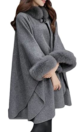 779d351932322 Lutratocro Women Wool-Blend Faux Fur Collar Loose Outerwear Cape Cloak Pea  Coats Gray XS
