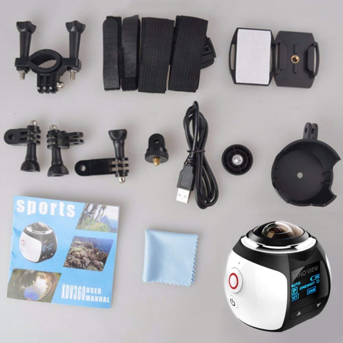 Fantasyworld 360-Grad-Panoramakamera Mini WiFi Kamera Ultra HD Panorama-Kamera-Weitwinkelobjektiv wasserdichter Sport Tauchen Kamera
