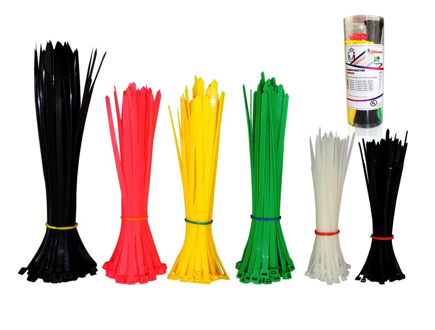 Premium Cable Ties 300 Pcs, Heavy Duty Self-Locking Zip Ties Assorted Sizes and Colors, 6 Inch 8 Inch 10 Inch, White Black Yellow Green Red, by HAODE FASHION