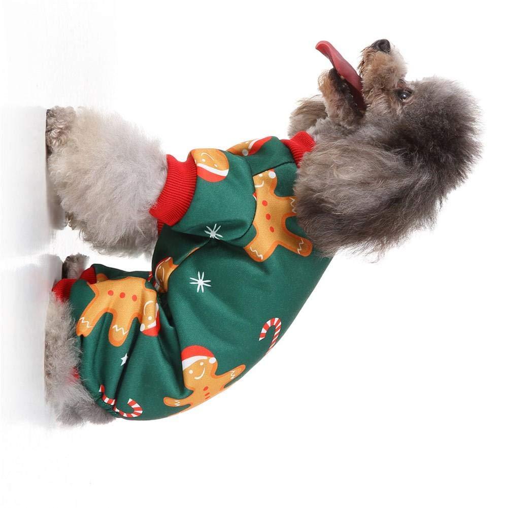josietomy Christmas Little Dog Pigiama Ciambelle Pet Tuta Abbigliamento Tuta Gatto T-Shirt in Cotone Camicie Cani