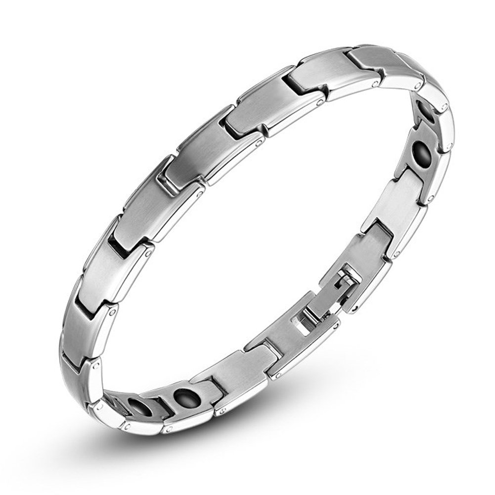 NaiCasy Bracciale antiradiazione in titanio e acciaio magnetico Therapy Energy braccialetto per uomini, regalo per la salute, argento
