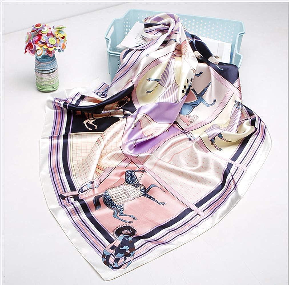 100/% seta Sciarpa in seta di lusso 90 x 90 cm motivo: cavalli da donna LA FERANI
