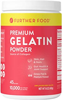 product image for Further Food Premium Gelatin Powder | Grass-Fed, Pasture-Raised, Non-GMO, Paleo, Keto | Unflavored, Excellent Source of Collagen | Pure Beef Gelatin Powder (16 oz.)