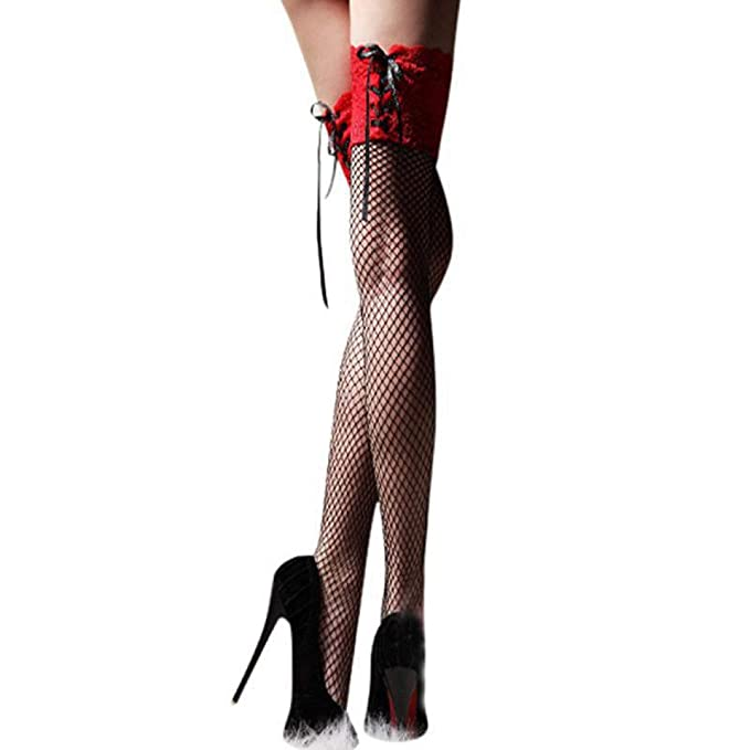 92dc45f7994 Women s Sexy Fishnet Stocking Thigh High Sheer Lace Top Sexy Stockings  Hosiery Nets Stay Up for