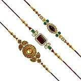 Jaipur Mart Set of 3 Kundan Rakhi Gift for Brother Latest Rakhi Gift (RKH01$P)
