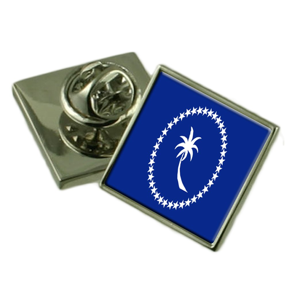 Chuuk (Truk) Flag Lapel Pin Badge Solid Silver 925