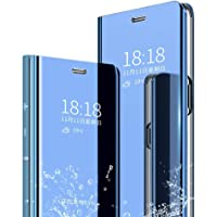 Aarnik Smart Clear View Mirror Flip Magnetic Stand Case Cover for Samsung Galaxy M30s (Blue)