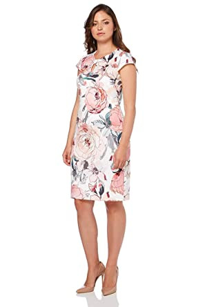 485a13ed1eb9 Roman Originals Women s Pastel Floral Scuba Cap Sleeve Dress - Ladies  Fitted Party Wedding Guest Graduation