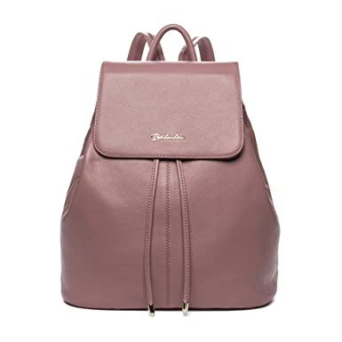 BOSTANTEN Vintage Women's Leather Backpack Casual Daypack Handbags for Ladies & Girls Pink