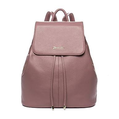 BOSTANTEN Vintage Women's Leather Backpack Casual Daypack Handbags for Ladies & Girls Pink