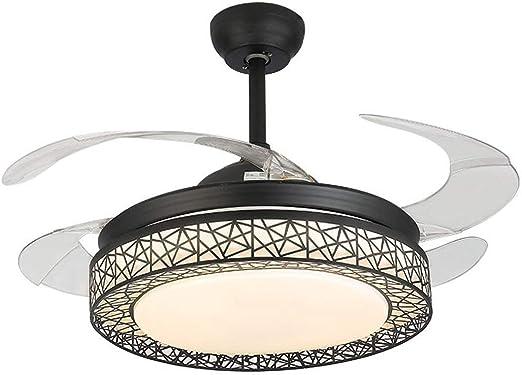 MUTANG Luz de ventilador LED, ventiladores de techo de 42 pulgadas con 4 aspas retráctiles de