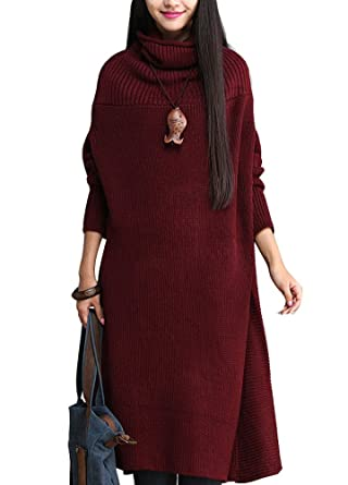 184395ab87903 Minibee Women s Turtle Neck Long Sweater Dress Plus Size Style 1 Wine at  Amazon Women s Clothing store