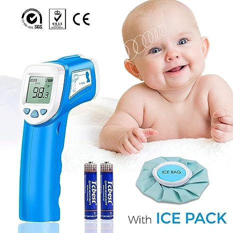 Termómetro Bebés Frente Digital, SOVARCATE Termómetro Infrarrojo Médico apto Pare Bebe y Adultos (almohadilla