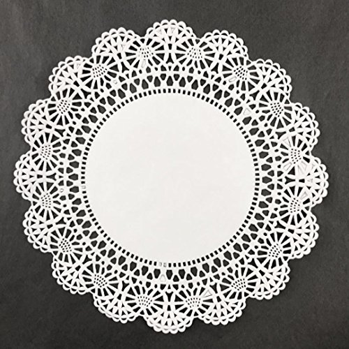 Black Cat Avenue White Lace Paper Doilies, 8 Inches, 50 Count ()