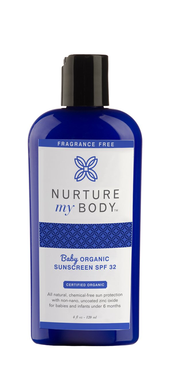 Nurture My Body All-Natural SPF 32 Mineral Baby Sunscreen, Fragrance Free, 4 fl oz. - Certified Organic Ingredients