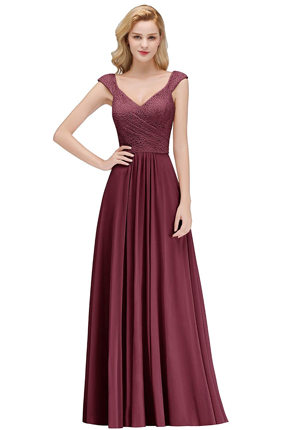 a29e815c420 MisShow Women s Elegant Deep V Neck Long Formal Evening Gowns Bridesmaid  Dresses at Amazon Women s Clothing store