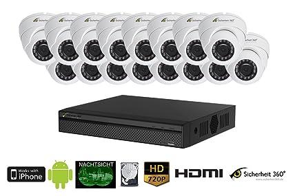 720P HDCVI 16 Canal Video Vigilancia Juego con 16 Dome Interior/Exterior cámaras de vigilancia