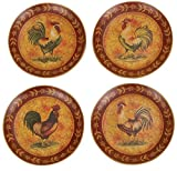 Traditional 8'' French Country Rooster Plates, Set of 4