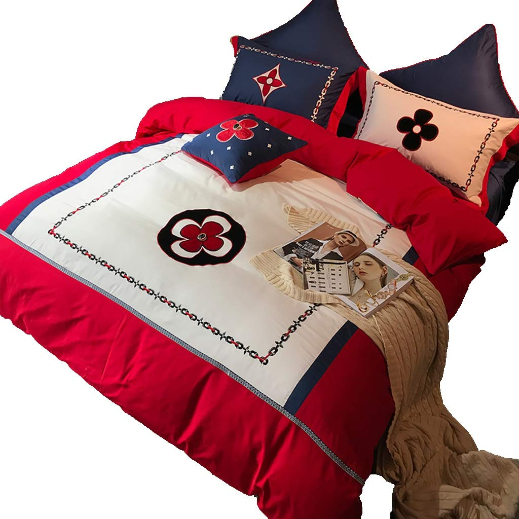 寝具カバーセット 4/6/7個セットベッドのベッドシーツカバー枕カバークッションカバー布団カバーギフトベッドセット寝具ホテルの家族保温 (色 : A 6 piece set, サイズ さいず : 1.5M/1.8M bed) B07P3L9W4R A 6 piece set 1.5M/1.8M bed