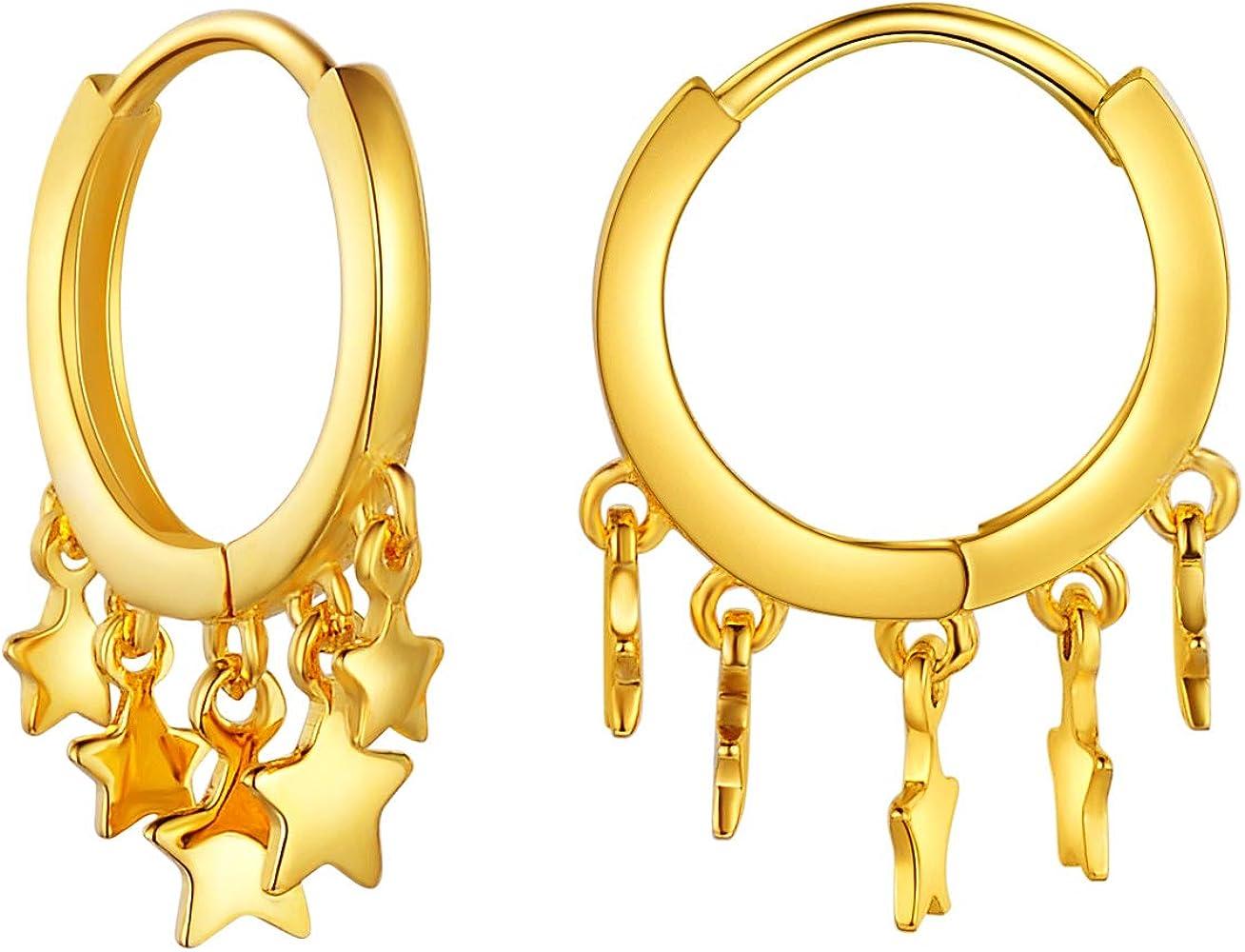 SixLuo-Pendientes de Plata 925 Forma en Estrellas Aros con Caja de Regalo para Mujer Chicas Color de Oro