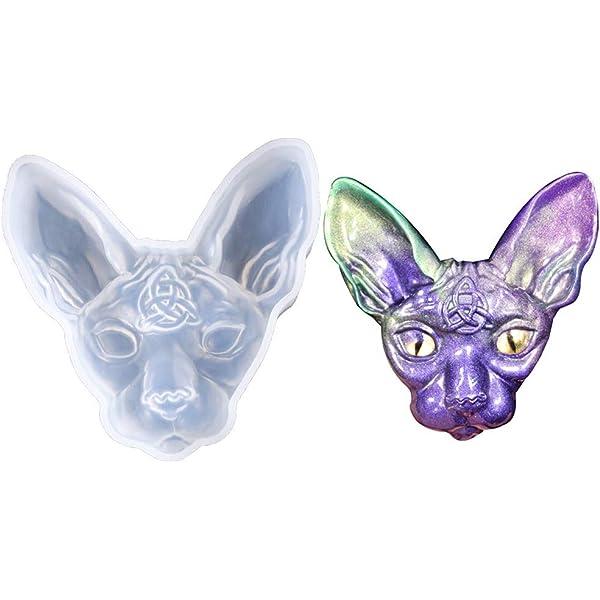 Resin Mold Hairless Sphinx Cat Head Pendant Lord Bilus Figure Mold Jewelry Tools