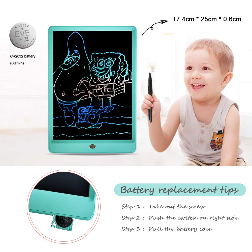 Drawing Tablet 10 Inches LCD Writing Tablet Colorful Screen, Doodle Board Electronic Doodle Pads Writing Board for Kids and Adults(Blue) by ZBHT (Image #2)