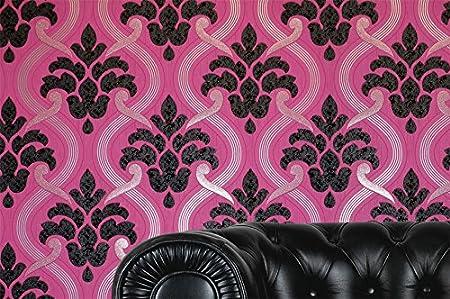 Damask Glitter Wallpaper Modern Pattern Pink Black Silver Textured