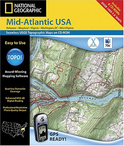 National Geographic TOPO! Mid-Atlantic USA Map CD-ROM (Mac)