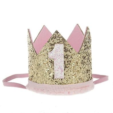 Malloom Bebé Lentejuelas Cumpleaños Sombreros de corona, Diademas de flores elástico (1)